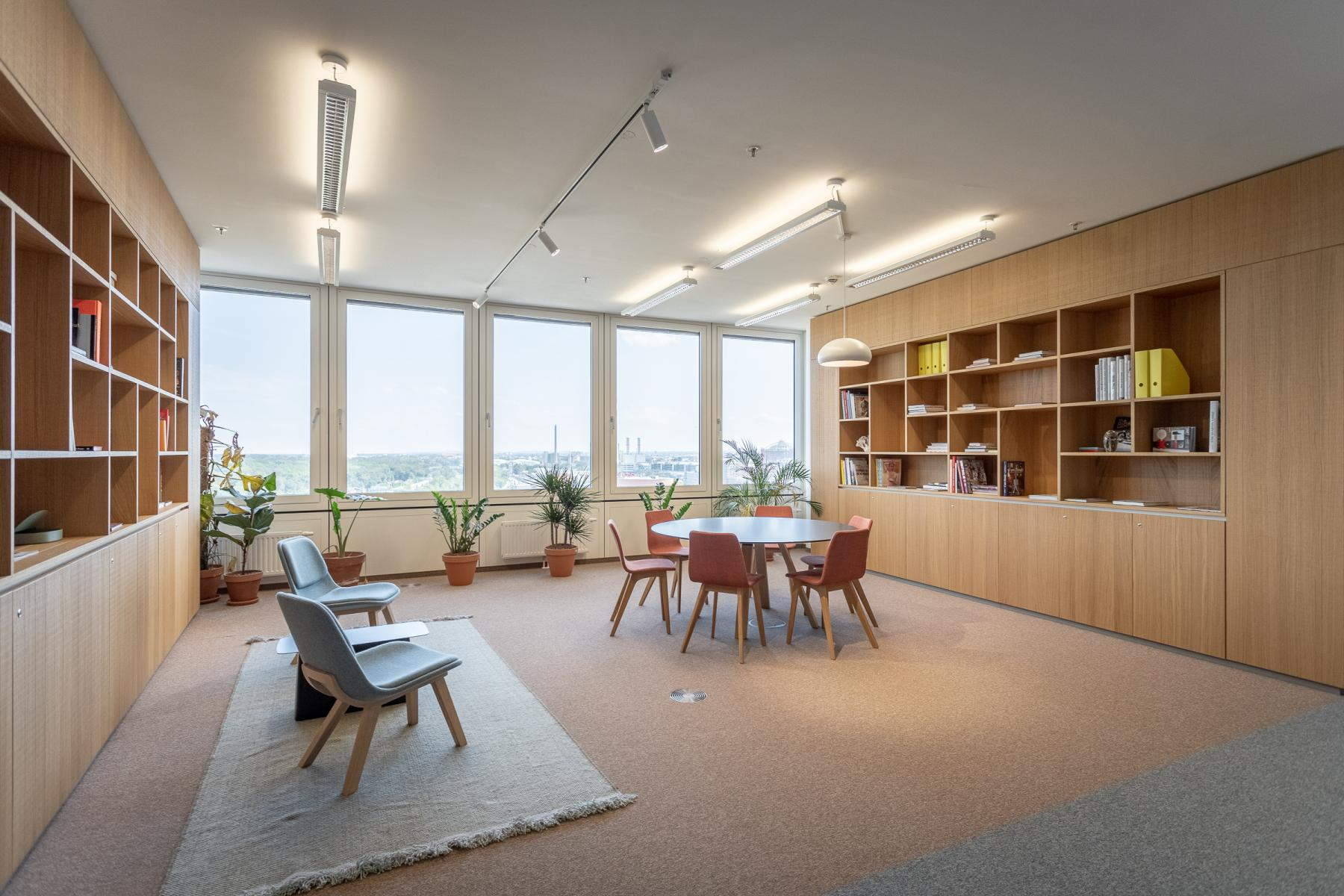 Seating area in the business center for rent in Vienna