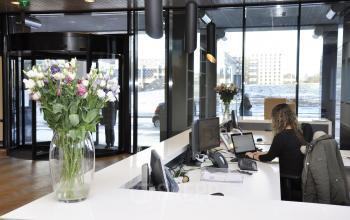 flowers reception check-in desk
