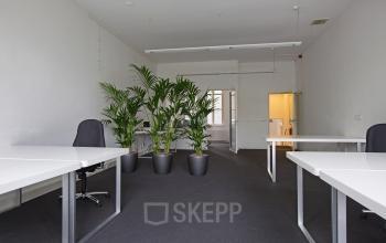 kantoorruimte ingericht gemeubileerd afgesloten amsterdam keizersgracht plant bureau's stoelen vloerbedekking deuropening