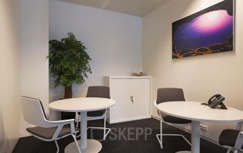 kantoorruimte vergaderruimte spreekruimte schilderij plant tafel stoelen vloerbedekking kast huur kantoorruimte amsterdam zuidas