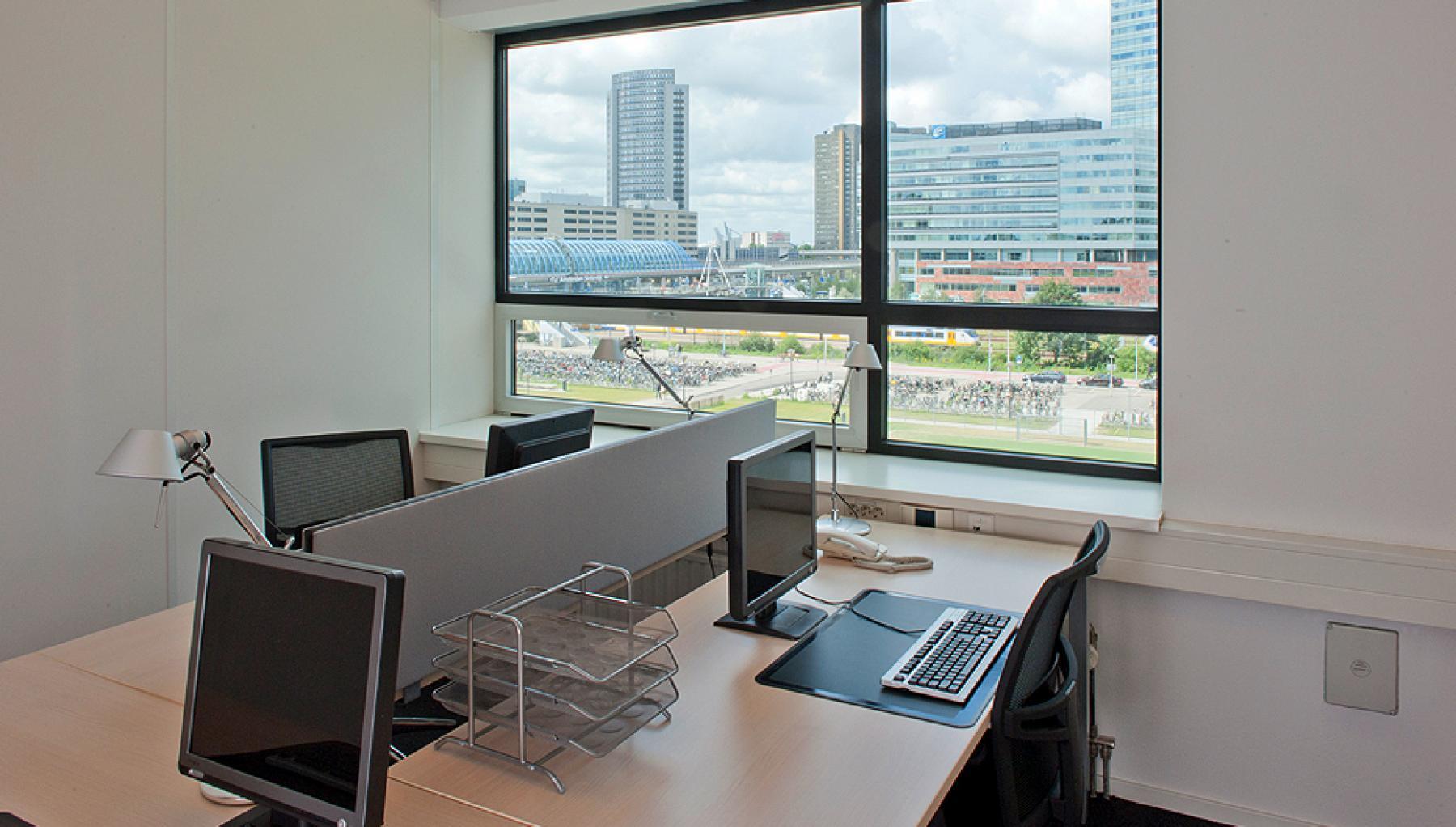 office building working desks three