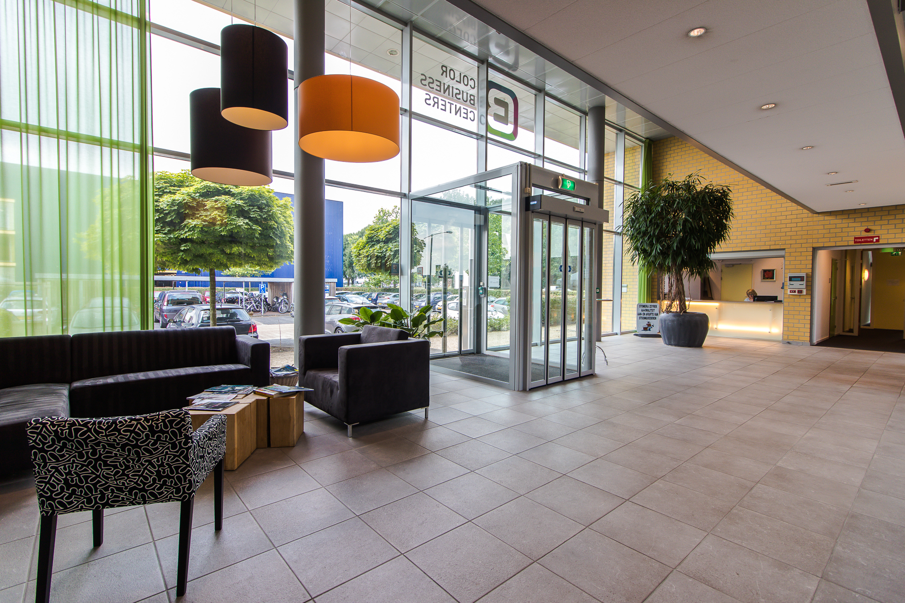Modern entrance with manned reception during office hours