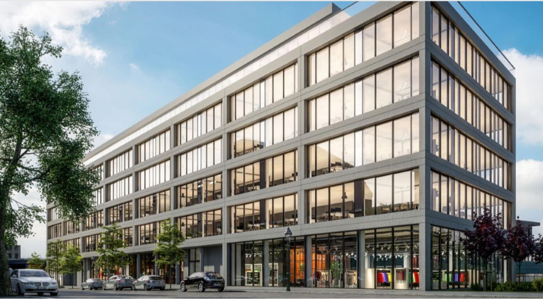 Hochmoderne Fassade des Business Centers in Berlin Mitte