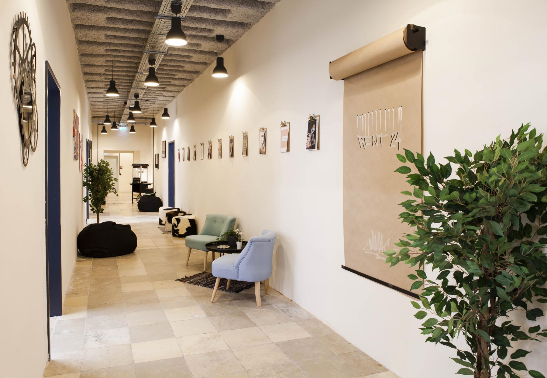 Heller langer Flur mit Pflanzen und Wanddekoration