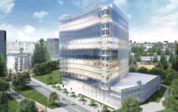 widok biurowca carbon tower fabryczna krakow