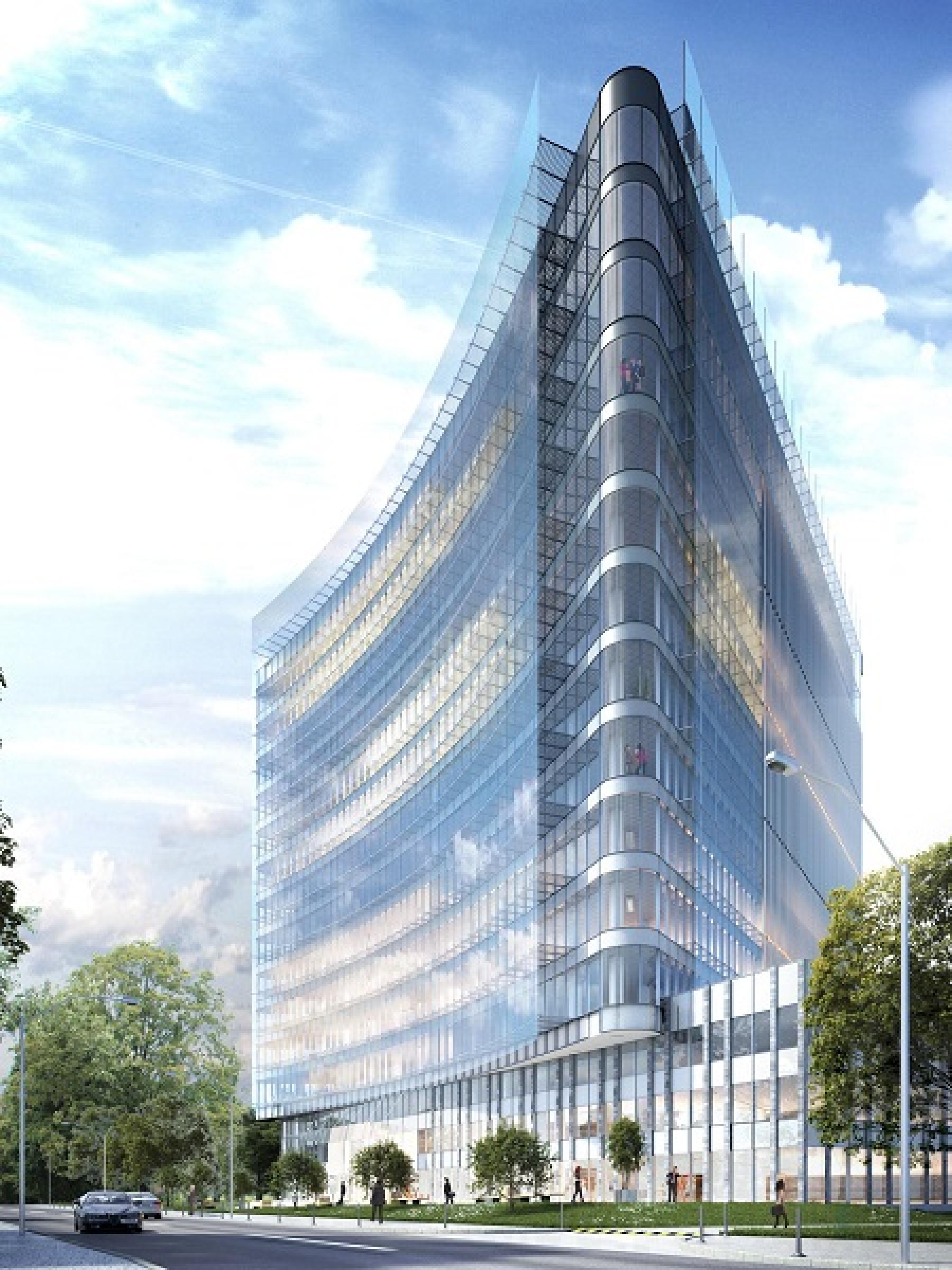 widok biurowca carbon tower fabryczna 6 kraków