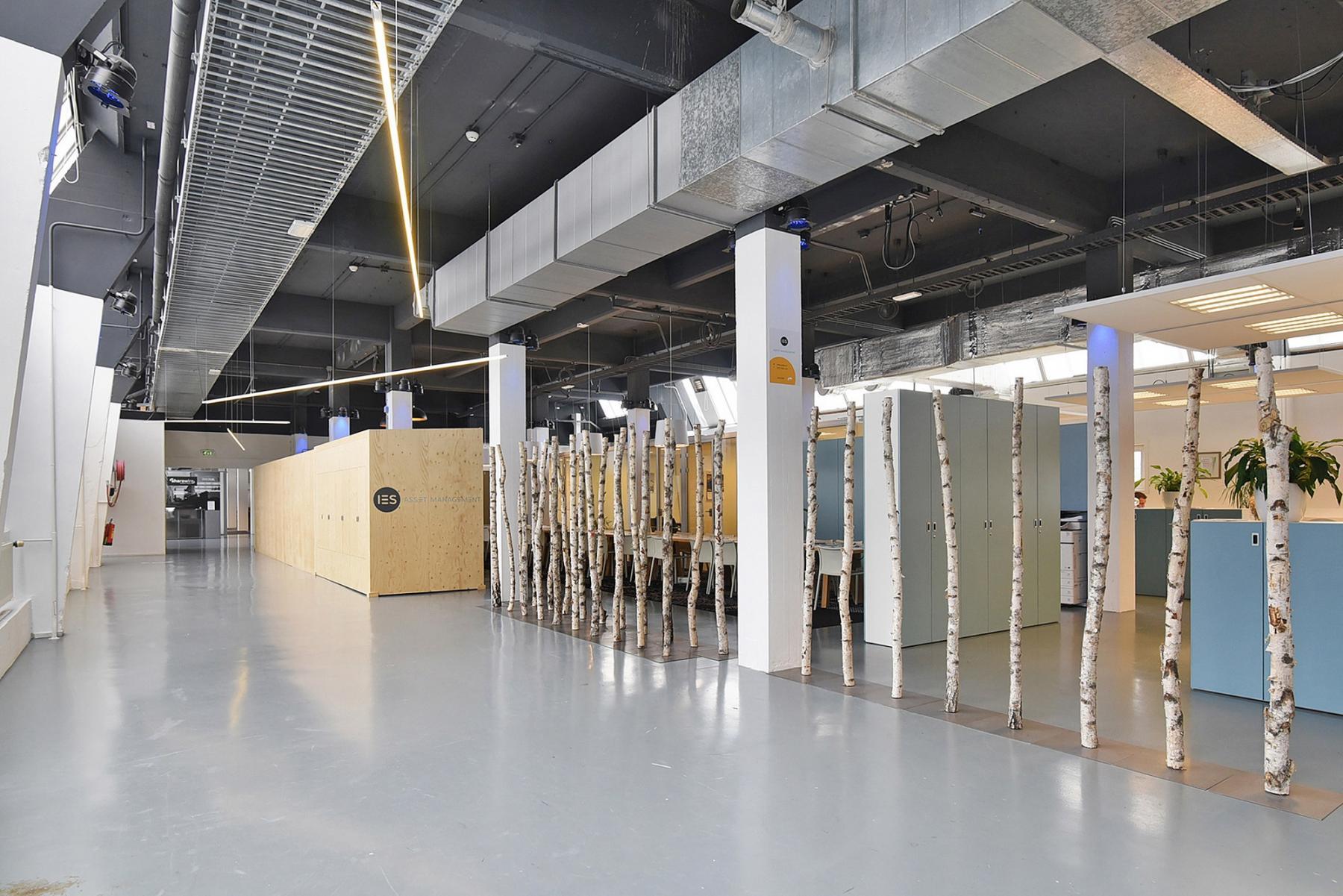 working places industrial room wood steel