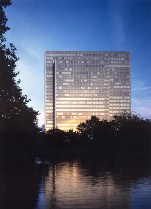 Beeindruckende Ansicht auf das Business Center in Düsseldorf