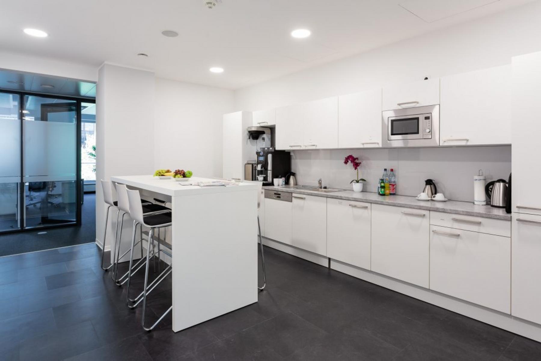 Voll ausgestattete Gemeinschaftsküche der Immobilie in Frankfurt Hauptbahnhof
