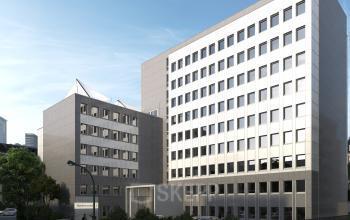 Außenansicht Bürogebäude mit moderner Fassade