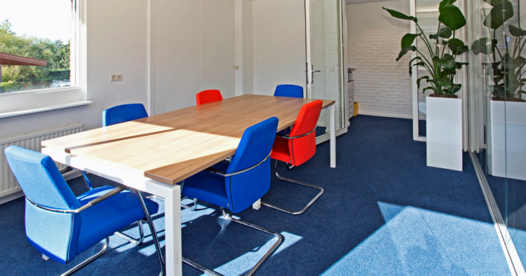 office room blue red chairs space flowers