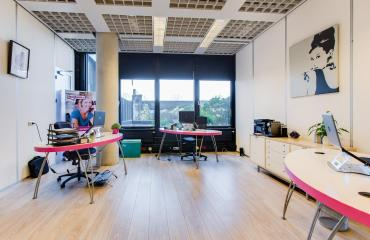 office space with 4 working desks
