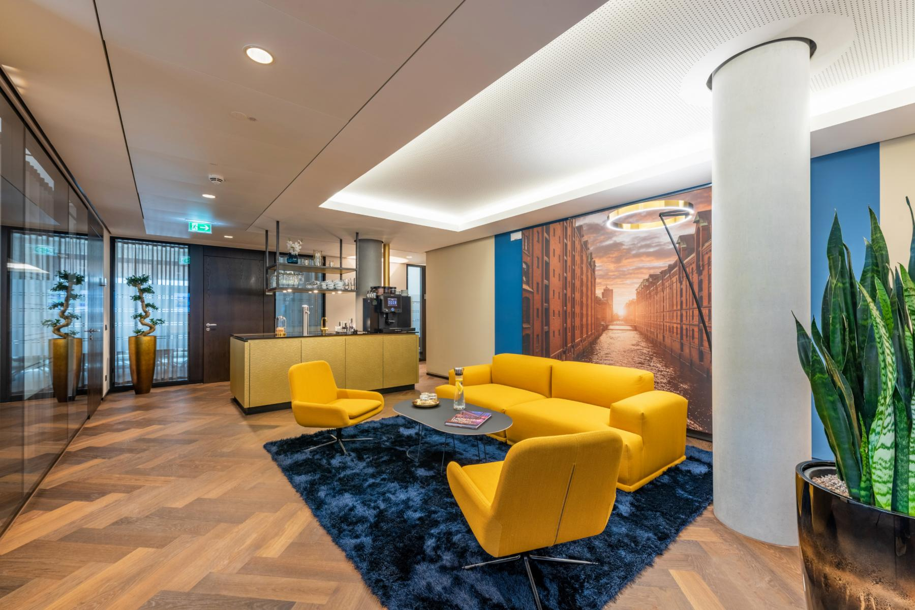 Stylish Business Lounge in the office building in Hamburg