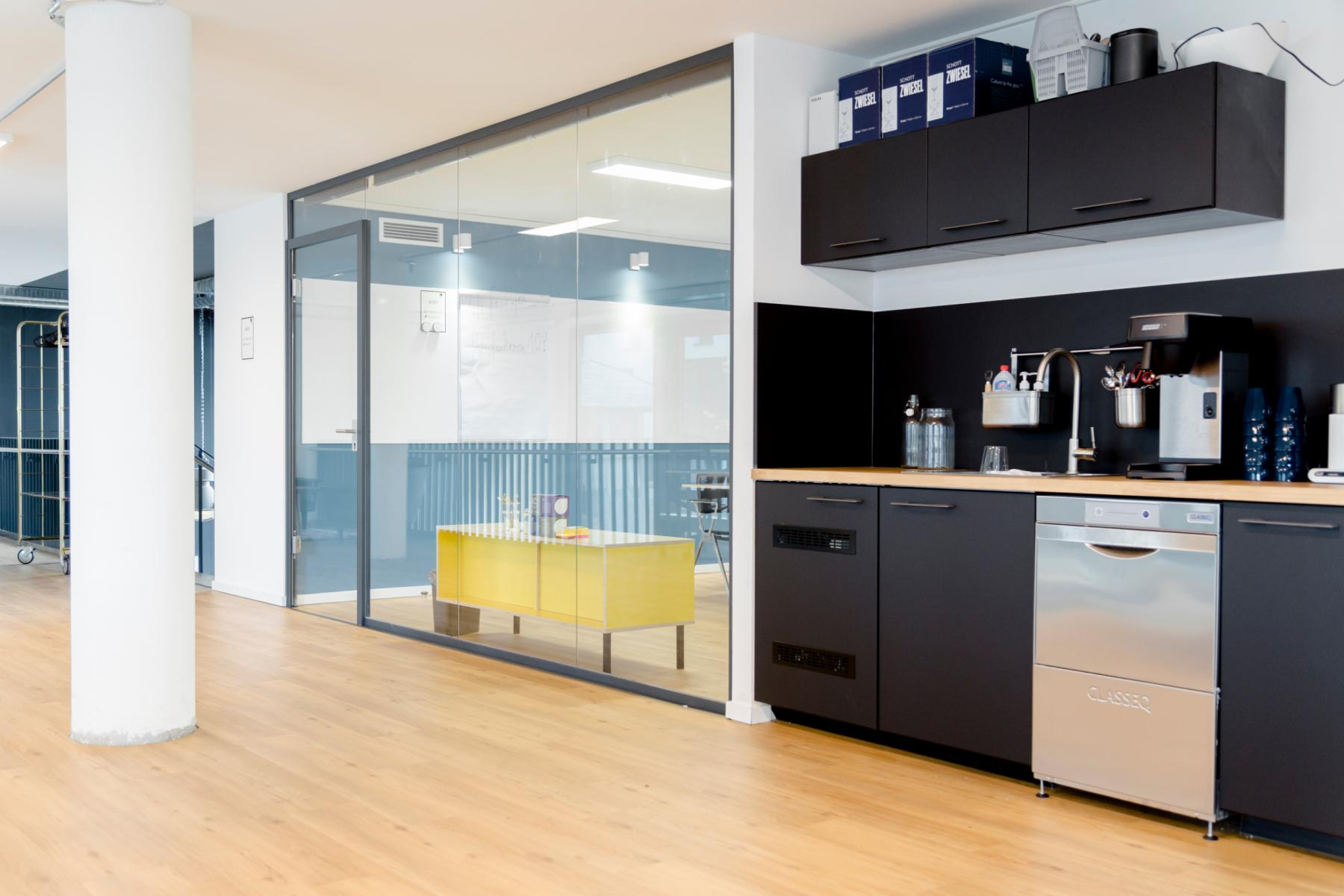 fully equipped kitchen in the business center in Hamburg, Hafencity