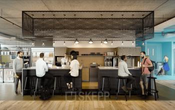 Toll eingerichtete Küche mit Tresen und Barhockern