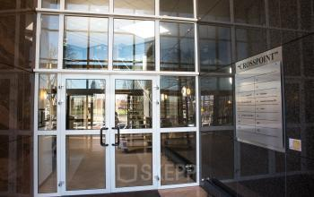 entrance office building white window frames