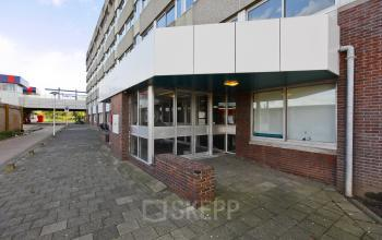 entrance office building white doors entrance