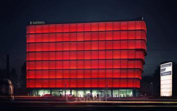 office building at night wadowicka 7 cracow