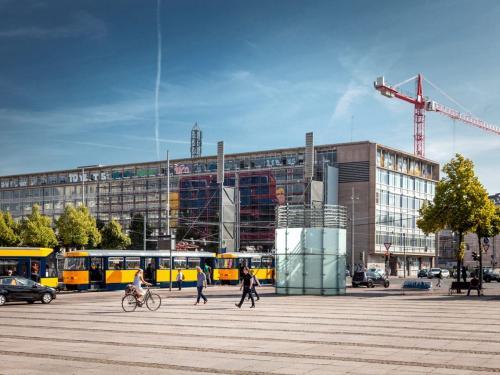 Beeindruckende Außenansicht vom Bürogebäude im Zentrum von Leipzig