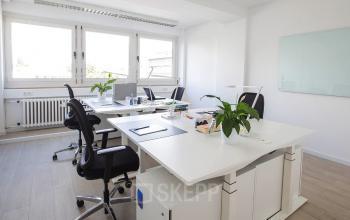 Helles Büro mit großem Schreibtisch und ergonomischen Möbeln am Kaiserring in Mannheim