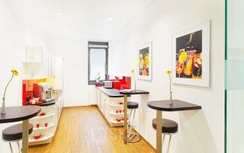 Büro mieten im Business Center München Riem mit gut augestatteter Gemeinschaftsküche