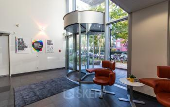 Modern entrance of the office building at the Lyonel-Feininger-Straße in Munich