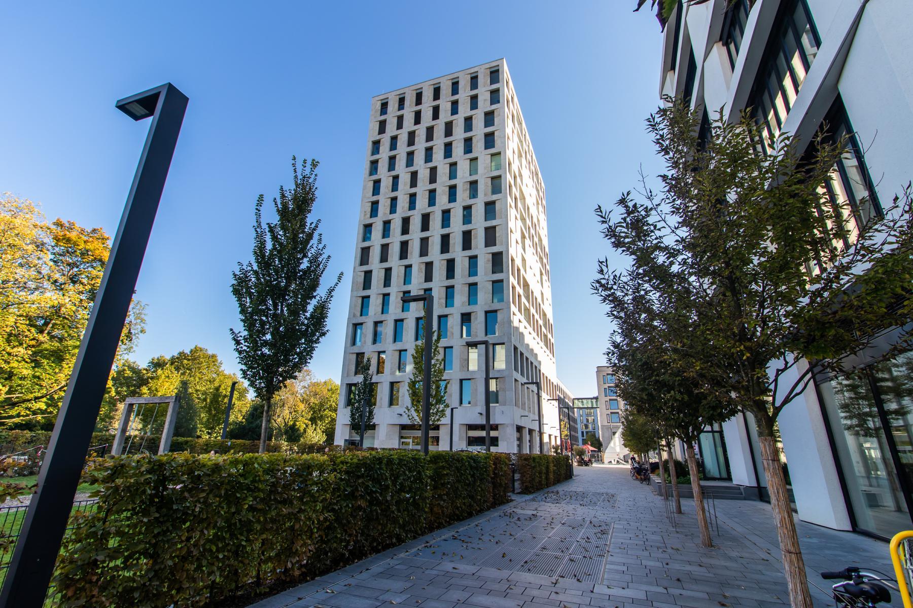 Impressive exterior view of the office building in Munich Schwabing