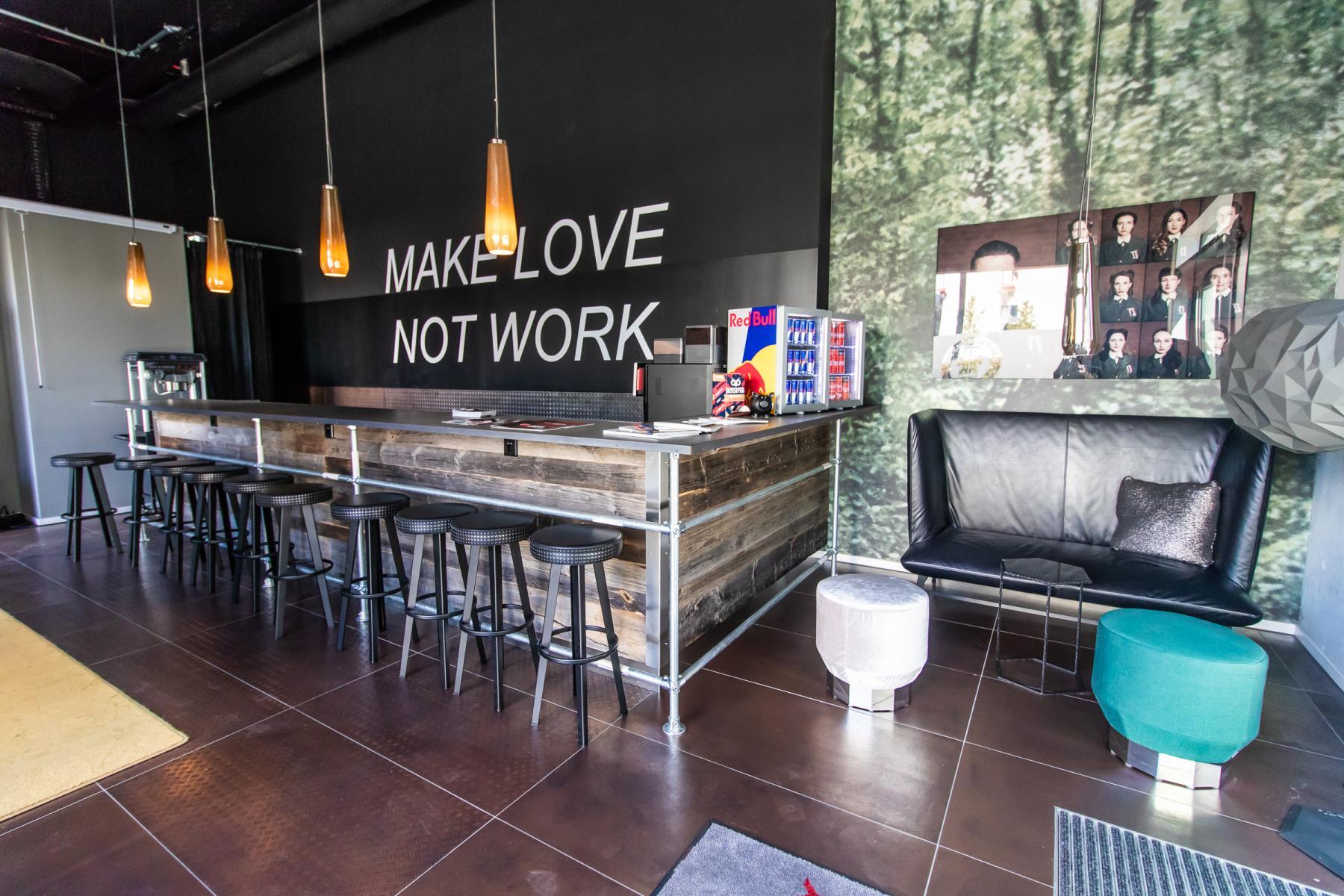 Luxurious bar in the office building in Munich Schwabing