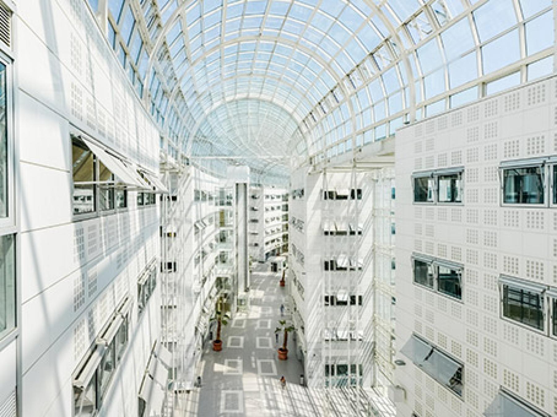 Notre centre d'affaires est doté d'une verrière pour profiter optimalement de la lumière naturelle dans la rue de la Haye