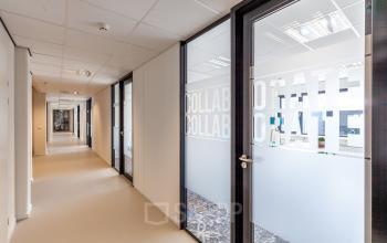 hallway office rooms glass doors bright room
