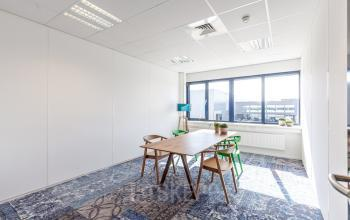 office room with nice blue carpet