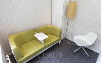 yellow couch lounge white chairs relaxing