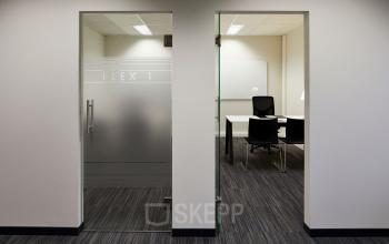 flex offices with a glass door