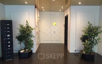 entrance office building green plants reception desk