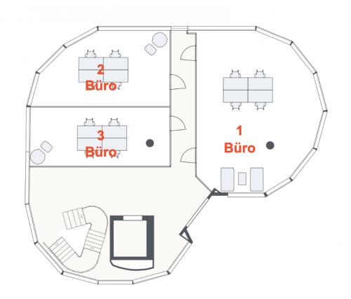 Grundriss des Stockwerkes mit privaten Büros zur Miete an der Baerengasse in Zürich