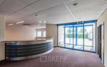 entrance office building reception desk round