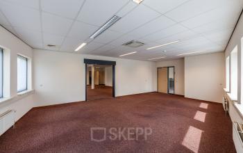 office room empty red carpet doors windows